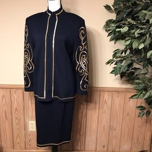 St. John suit skirt zip jacket size 10 navy gold